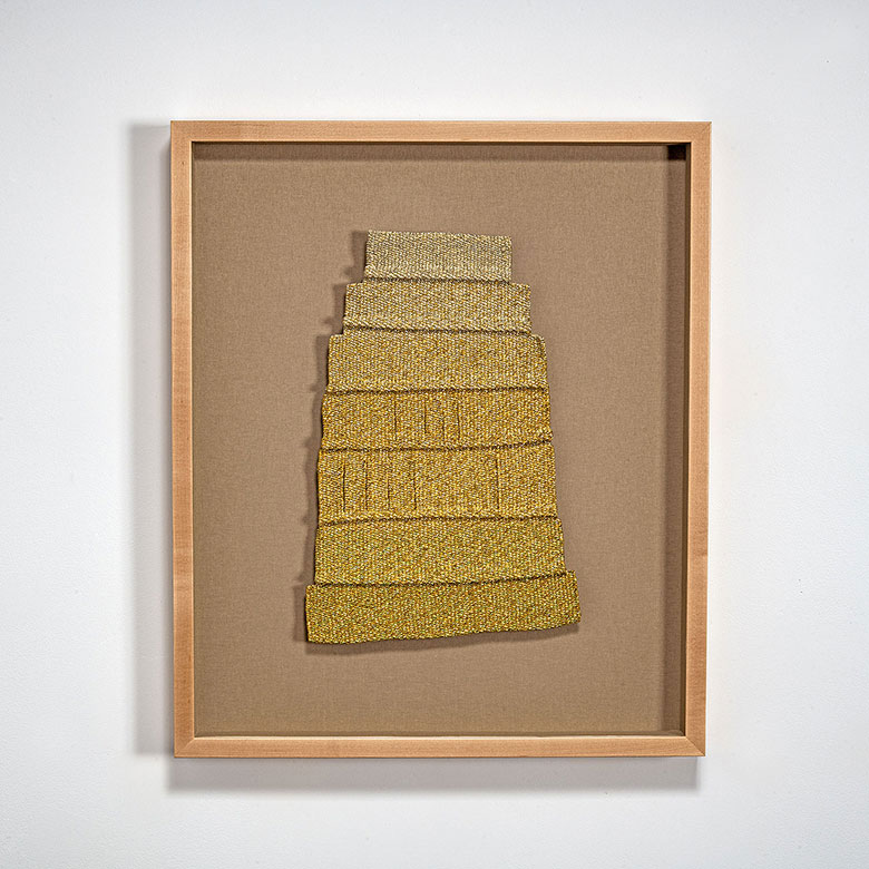 "Gold Laugh, Micheline Beauchemin, metallic and acrylic thread, cotton, 25.25"" x 21.25"" x 2.25"", 1980-85"