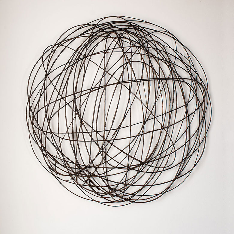 "Lizzie Farey, 18lf Orbiculus, willow, wire, 31.25"" x 31, 2018"