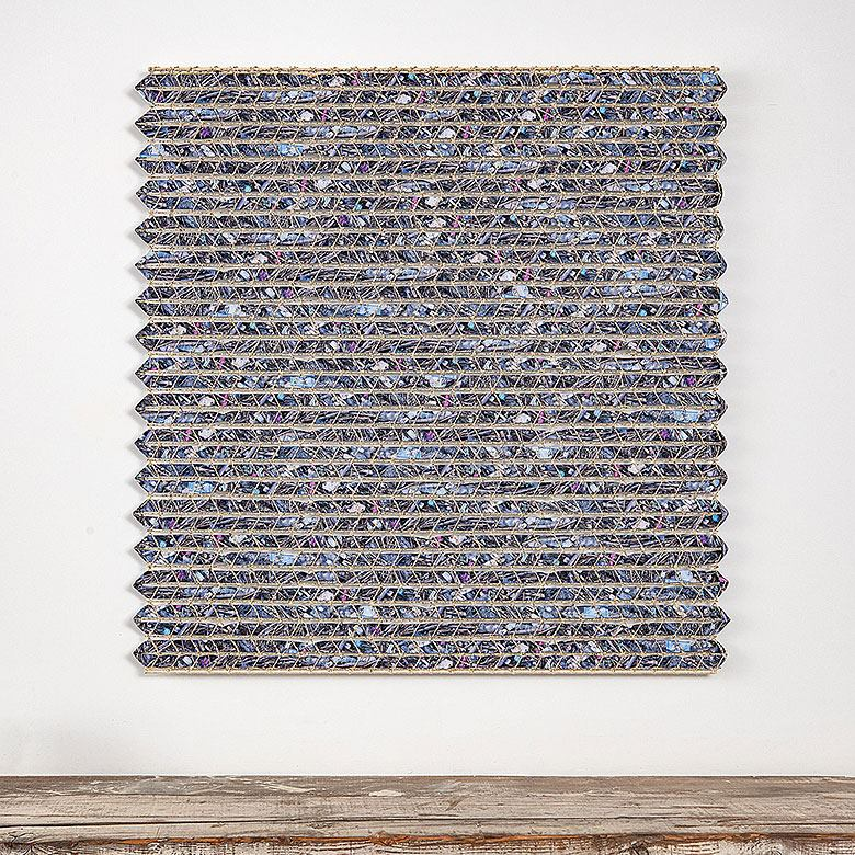 "The Seashore, Keiji Nio, polyester, aramid fiber, 48"" x 48,"" 2019"