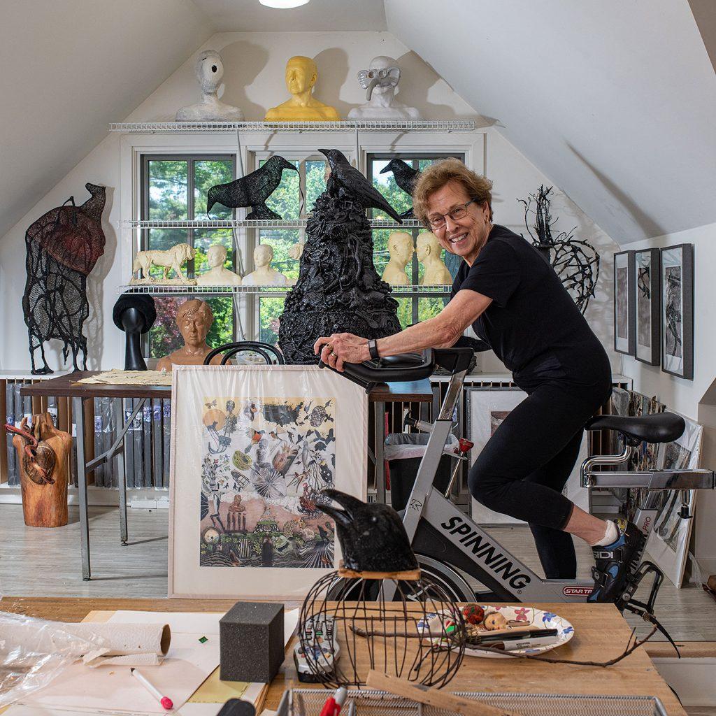 Nora Minkowitz Spinning in her studio
