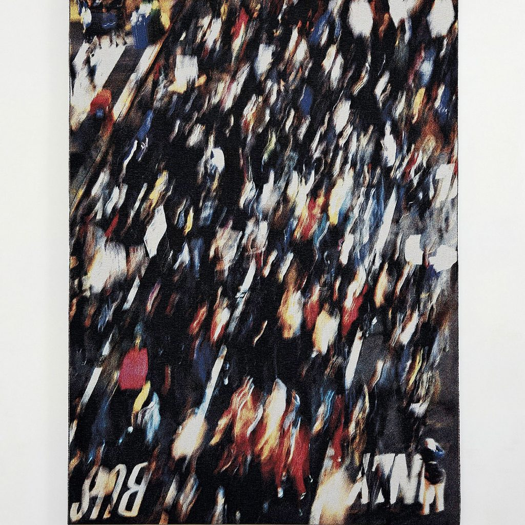 Movement by Grethe Sørensen,   tapestry from the arists video of a protesting the death of Eric Garner in NYC. Photo by Tom Grotta