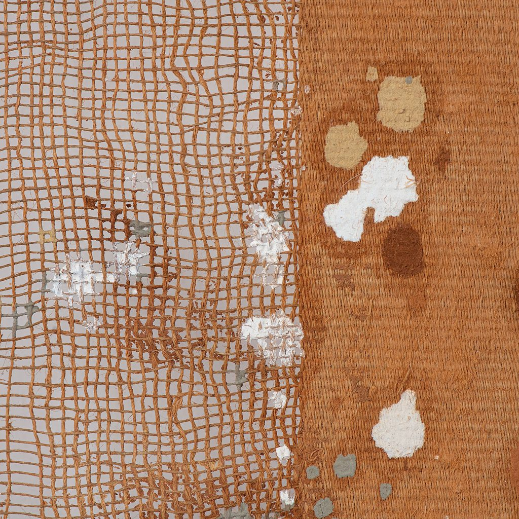 Detail  of Mud-Dyed Cloth - Mud Dots on Brown Stripes #742 by Chiyoko Tanaka