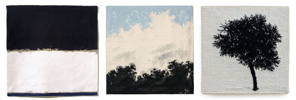 Sara Brennans  Dark Blue Line I, 1999 Broken White band with Pale Blue II, 2011 Journey-Tree-IV, 2020